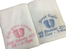 PERSONALISED BABY FEET BLANKET, Choice of 6 colours
